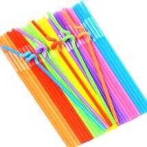 Hosszú hajlítású színes szívószál 500db/cs
