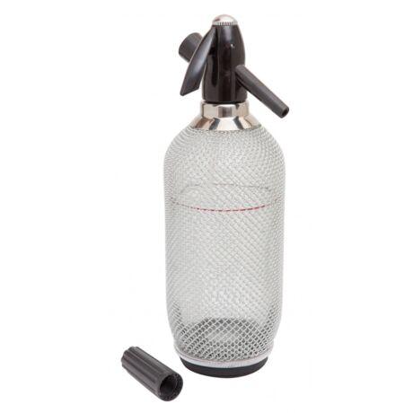 Szódásszifon üveg tartállyal alumínium hálóval 1L