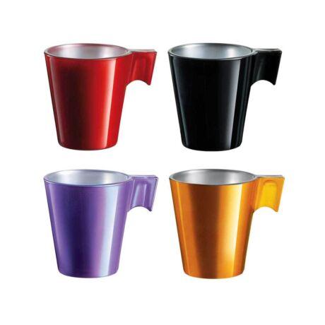 Luminarc flashy eszpresszó színes üveg kávés csésze 4 db/szet