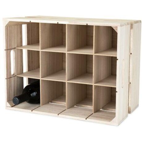 Fa bortároló rekesz, 12 palacknak