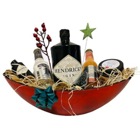 Karácsonyi Hendricks Gines Ajándékcsomag piros ovális dísztálban