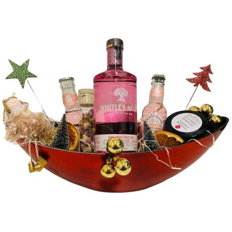 Karácsonyi Whitley Neil Pink Grapefruit Gines Ajándék csomag piros ovális dísztálban