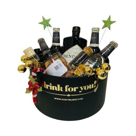 Karácsonyi Hendricks Gin&Tonik Ajándék szett Fekete díszdobozban