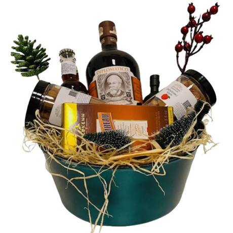Karácsonyi Diplomatico Mantuano Rumos Ajándék csomag Kék Dísztálban
