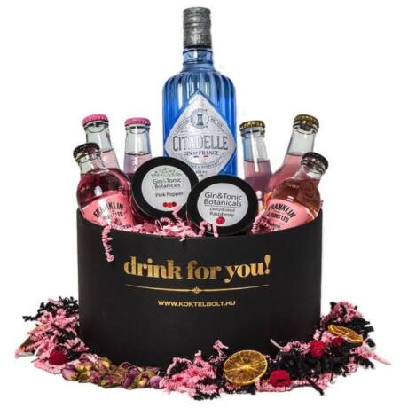Drink For You feliratos Citadelle Gin Tonik Ajándék csomag fekete díszdobozban