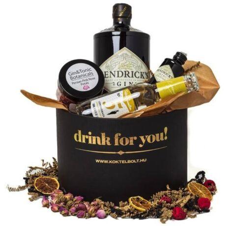 Drink For You feliratos Hendricks Gin Tonik Ajándék csomag fekete díszdobozban