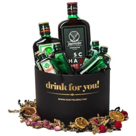 Drink For You feliratos Jagermeister Ajándék csomag fekete díszdobozban