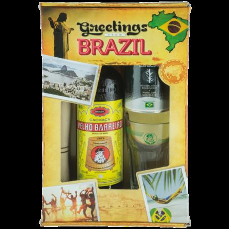 Cachaca Velho Barreiro Silver dd. 0,7L 39% + pohár, cukor, tömőfa