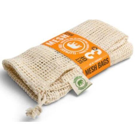 3 db Organikus pamut hálós zsák gyümölcs vagy zöldség vásárláshoz – 3 különböző méretű zsák