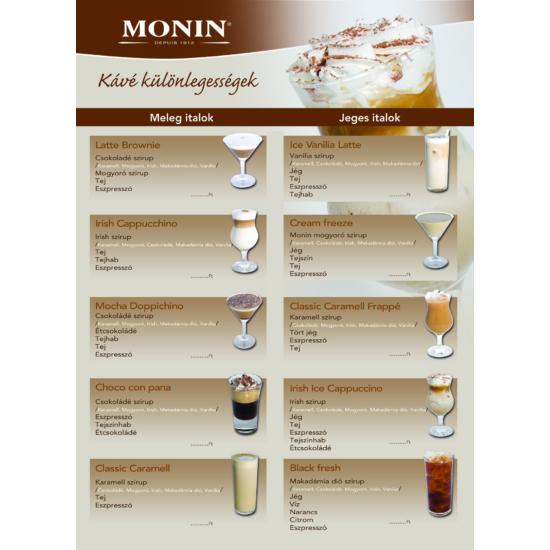 Monin kávé különlegességek kínáló