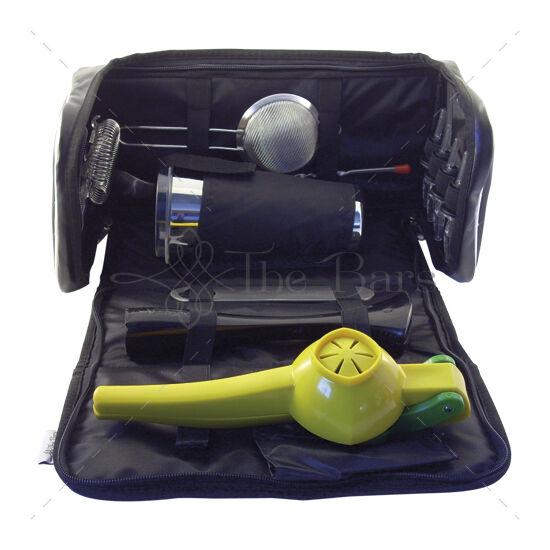 Bártender szett hordozható táskával, SÁRGA lime citromnyomóval