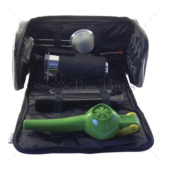 Bártender szett hordozható táskával, ZÖLD lime citromnyomóval